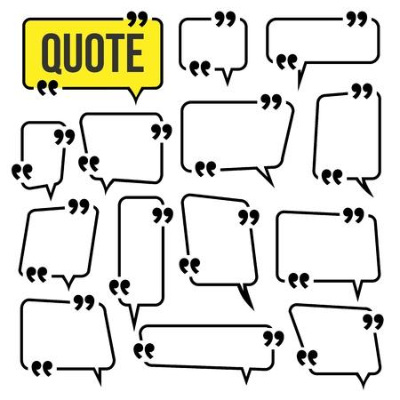 Quote Frame Set Vector. Frame For Text Comment Template. Isolated Illustration Ilustração