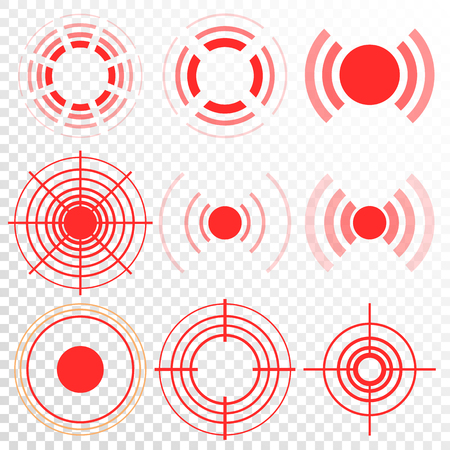 Pain Icon Vector. Red Rings. Pain Circle. Isolated Illustration