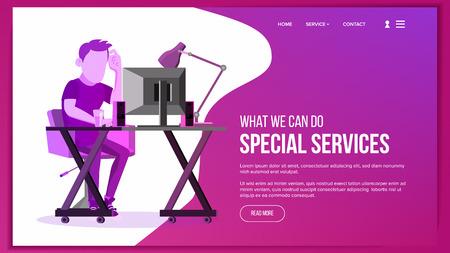 Vector de página web. Sitio web de negocios. Plantilla de esquema del sitio. Gente de dibujos animados Objetivo de creatividad. Ilustración