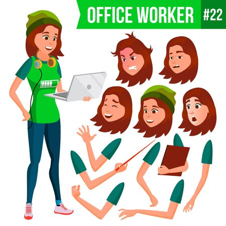 Office Worker Vector. Woman. Smiling Servant, Officer. Business Person. Face Emotions, Various Gestures. Animation Creation Set. Flat Cartoon Illustration Illustration