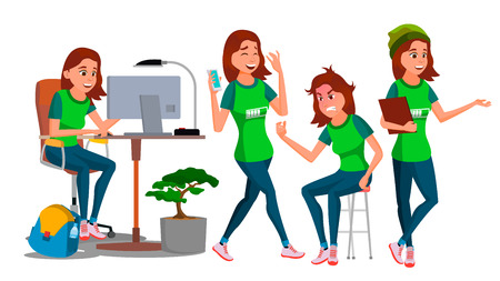 Young Business Woman Character Vector. Environment Process. Lady In Various Poses. Creative Studio. Cartoon Illustration