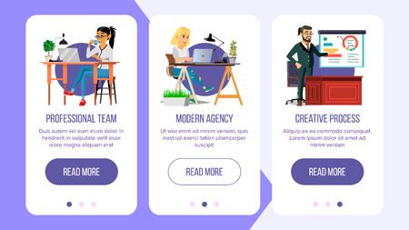 Website Banners Vector. Business Agency Network Connection. Cartoon Person Digital Developer Illustration
