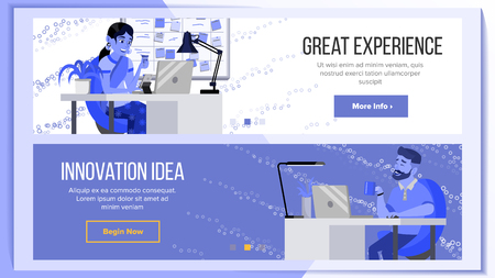 Website Banners Design Template Vector. Business Screen. Internet Traffic. Cartoon Character. Corporate Dividend. Illustration Vectores