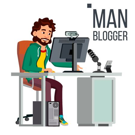 Man Video Blogger Vector. Gaming Stream Banner. Concept blogging. Video Streaming. Strategy Video Game. Flat Vector Illustration