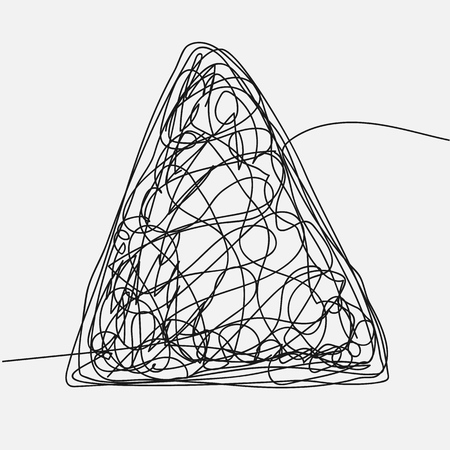 Tangle Scrawl Sketch Vector. Drawing Triangle. Hand Drawn Line. Chaos. Illustration Illustration