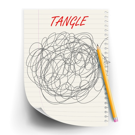 Tangle Scrawl Sketch Vector. Drawing Circle. Tangled Chaotic Doodle. Mind, Brainwork. Spherical Abstract. Illustration