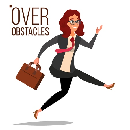 Business Woman Jumping Over Obstacles Vector. Competing Race. Overcoming Obstacles, Achieving Goal. Isolated Flat Cartoon Character Illustration. Vectores
