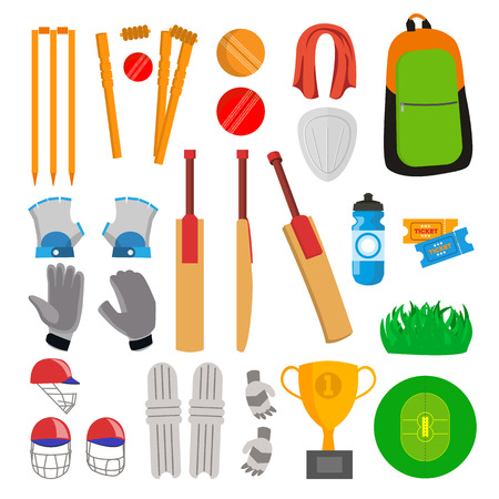 Cricket Icons Set Vector. Cricketer Accessories. Bat, Gloves, Helmet, Ball, Cup Playing Field Isolated Cartoon Illustration