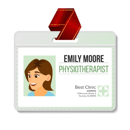 Physiotherapist Identification Badge Vector. Woman. Id Card Blank. Clinic. Hospital. Specialist Person. Flat Cartoon Character Illustration