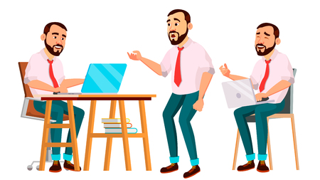 Office Worker Vector. Face Emotions, Various Gestures. Creation Set. Business Worker. Career. Professional Workman, Officer, Clerk Flat Cartoon Illustration Illustration