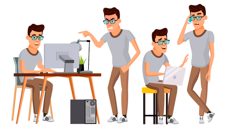 Office Worker Vector. Face Emotions, Gestures. Set. Business Man. Professional Cabinet Workman, Officer, Clerk. Isolated Cartoon Character Illustration Stock Illustratie