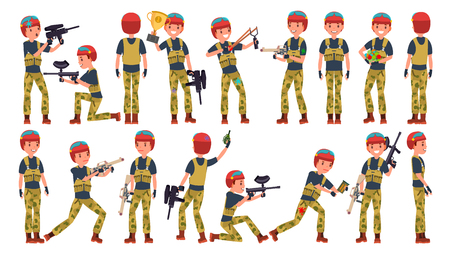 Paintball Player Vector. Shooting, Running. Teammates In Different Poses. Gun. Battle Sport Competitions. Cartoon Character Illustration Illustration