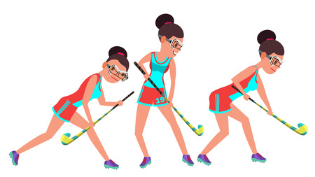 Field Hockey Female Players vector illustration set