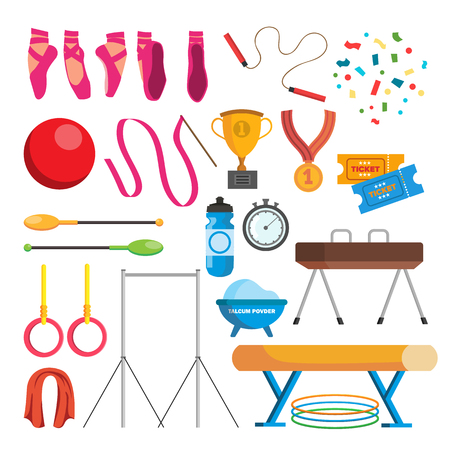 Gymnastics icons set vector, gymnastic accessories, ball, rings, mace, hoop, tape. Isolated flat cartoon illustration.