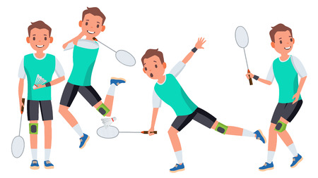Badminton Male Player In Action Cartoon Character design