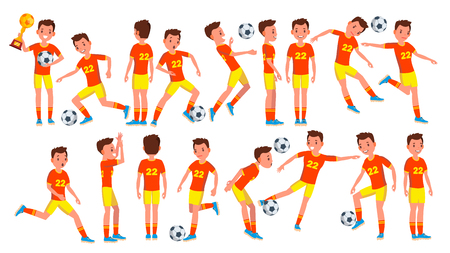 Soccer male Players vector illustration set