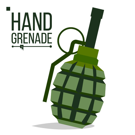 Grenade vector, big bang, green classic hand grenade bomb. Army object battle explosion. artillery military design element flat isolated cartoon illustration.