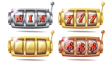 Slot Machine Set Vector. 777. Big Win Banner Element. Golden, Silver, Bronze. Spin Machine Template. Fortune Jackpot Casino Illustration