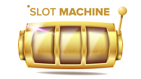 Slot Machine Vector. Golden Lucky Empty Slot. Gambling Poster. Spin Object. Fortune Jackpot Casino Illustration Çizim
