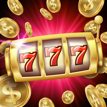 Slot Machine Banner Vector. Casino Luck Word. Big Win 777 Lottery. Poster. Illustration Ilustracja