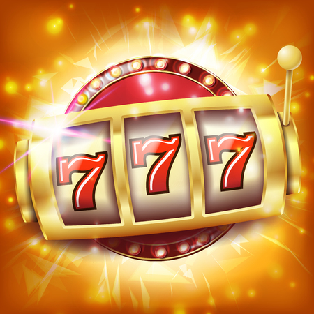 Casino Slot Machine Banner Vector. Sevens Jackpot Concept. Spin Object. Illustration