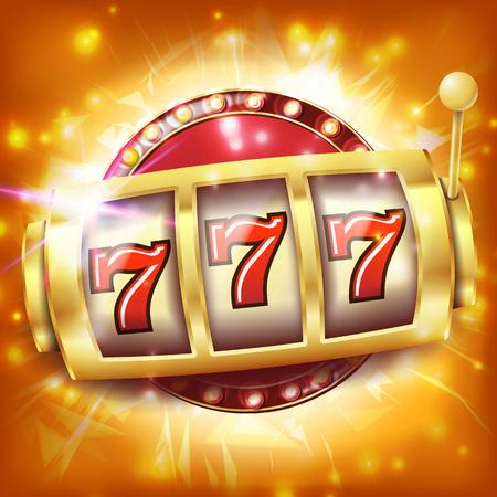 Vector de banner de máquina tragamonedas de casino. Concepto de bote de siete. Objeto giratorio. Ilustración