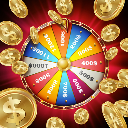 Wheel Of Fortune Poster. Spinning Lucky Roulette. Gambling Background. Bright Lottery Leisure Casino Illustration. 矢量图像