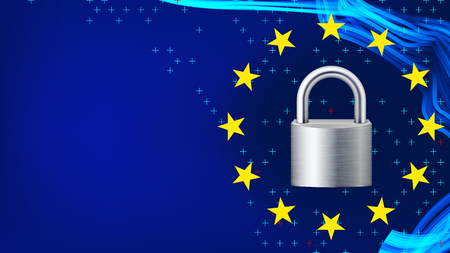 GDPR Background Vector. Padlock. Protection Of Personal Data. Stars. Security Web Banner. Illustration Illustration