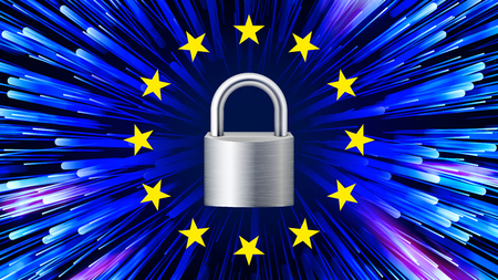 GDPR Background Vector. Padlock. Stars. Security Web Banner. Blue Matrix. Internet Regulation. Illustration
