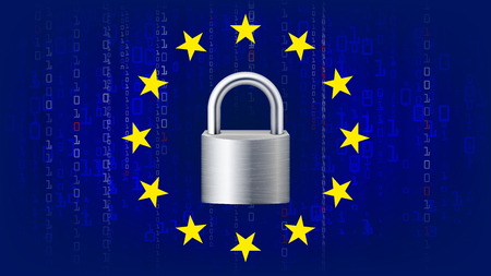 GDPR background vector padlock, blue matrix. Internet regulation, protection of personal data illustration.