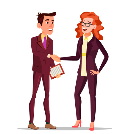 Happy Client Vector. Business Concept. Suit. Partners And Clients. Meeting Handshaking. Agreement Sign. Isolated Flat Cartoon Character Illustration Vectores