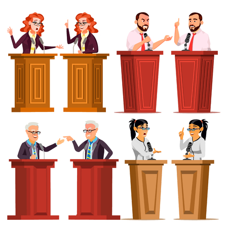 Speaker Set Vector. Man, Woman Giving Public Speech. Businessman, Politician. Debates. Presentation. Isolated Flat Cartoon Character Illustration