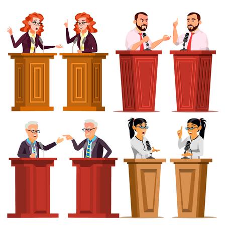 Speaker Set Vector. Man, Woman Giving Public Speech. Businessman, Politician. Debates. Presentation. Isolated Flat Cartoon Character Illustration