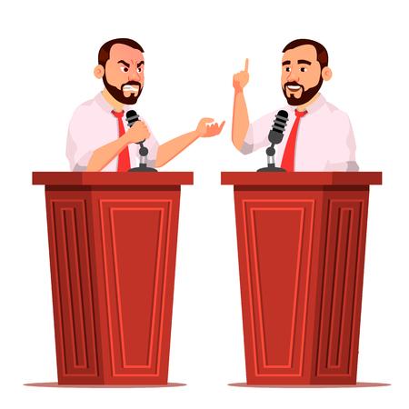 Speaker Man Vector. Podium With Microphone. Giving Public Speech. Debates. Presentation. Isolated Flat Cartoon Character Illustration Vectores