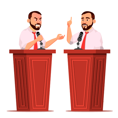 Speaker Man Vector. Podium With Microphone. Giving Public Speech. Debates. Presentation. Isolated Flat Cartoon Character Illustration Çizim