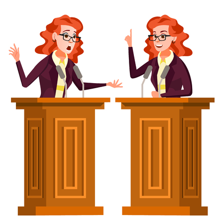 Speaker Woman Vector. Podium With Microphone. Giving Public Speech. Debates. Presentation. Isolated Flat Cartoon Character Illustration