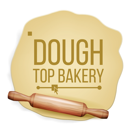 Dough Vector. Rolling Pin. Top View. Preparing Tool. Banner Design. Realistic Isolated Illustration