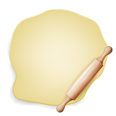 Dough Vector. Wooden Rolling Pin. Baking Ingredient. Poster Design. Isolated Illustration Vettoriali