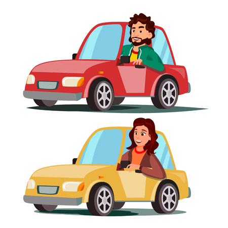 Fahrer Menschen Vektor. Mann, Frau, die im modernen Automobil sitzt. Ein neues Auto kaufen. Fahrschulkonzept. Glücklicher weiblicher, männlicher Autofahrer. Isolierte flache Karikatur-Charakter-Illustration