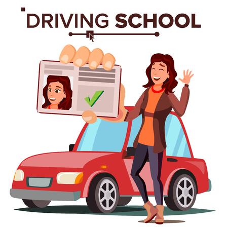 La donna nella scuola guida vettore. Auto da addestramento. Esame superato con successo. Patente di guida. Illustrazione piana isolata