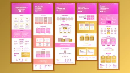 Web Page Design Vector. Website Business Graphic. Responsive Interface. Landing Template. Entertainment Future. Interface Menu. Futuristic Strategy. Illustration