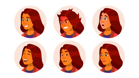 Avatar Icon Woman Vector. Comic Emotions. Flat Handsome Manager. Cartoon Character Illustration