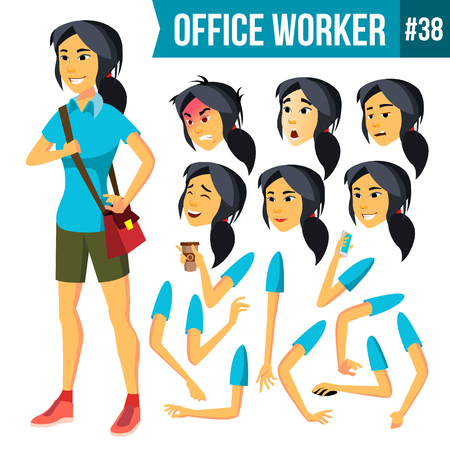 Office Worker Vector. Woman. Successful Officer, Clerk, Servant. Business Woman Worker. Face Emotions, Gestures. Animation Creation Set. Isolated Flat Illustration