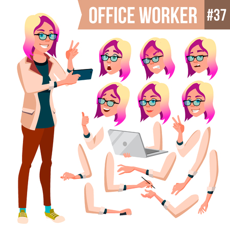 Office Worker Vector. Woman. Professional Officer, Clerk. Businessman Female. Lady Face Emotions, Various Gestures. Animation Creation Set. Isolated Flat Character Illustration  イラスト・ベクター素材