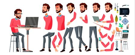 Office Worker Vector. Face Emotions, Various Gestures. Animation Creation Set. Businessman Worker. Happy Job. Partner, Clerk, Servant, Employee Flat Cartoon Illustration Illustration