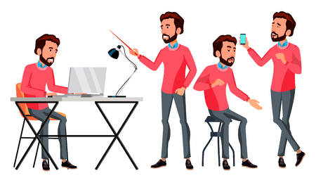 Office Worker Vector. Face Emotions, Various Gestures. Adult Entrepreneur Business Man. Happy Clerk, Servant, Employee. Isolated Flat Illustration