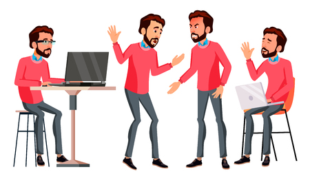 Office Worker Vector. Face Emotions, Various Gestures. Businessman Person. Smiling Executive, Servant, Workman, Officer. Isolated Character Illustration