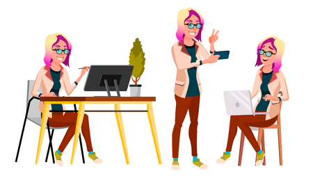 Office Worker Vector. Woman. Professional Officer, Clerk. Adult Business Female. Lady Face Emotions, Various Gestures. Isolated Cartoon Illustration Illustration