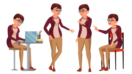 Office Worker Vector. Woman. Happy Clerk, Servant, Employee. Business Human. Face Emotions, Various Gestures. Isolated Character Illustration Stock Photo