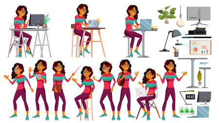 Office Worker Vector. Arab Woman. Professional Officer, Clerk. Saudi. Adult Business Female. Lady Face Emotions, Various Gestures. Isolated Cartoon Illustration